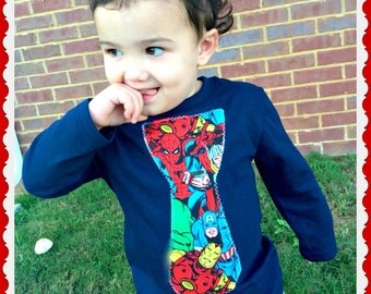 Boys Marvel Tie Shirt 2T 3T 4T 5T 4/5 5/6 7/8 10/12 and 14/16