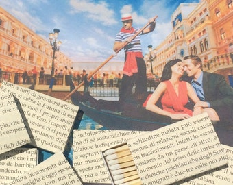 10 Italian Foreign Language Book Page Wrapped Matchbox Wedding Favors Italy Rome Venice Gondola