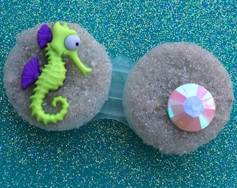 Contact Lens Case Seahorse Green Purple Octopus Jellyfish Mermaid Key West Beach Sand Opal