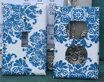 Blue Damask Switchplate Outlet Double Triple Quad Rocker Blank Cable Dimmer