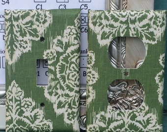 Switchplate Green Damask Swiss Danish Outlet Double Triple Quad Blank Cable Rocker