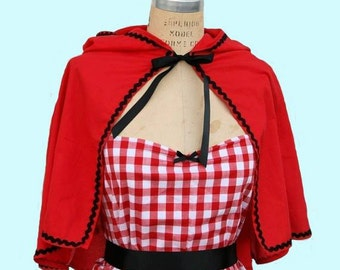 Red Riding Hood CAPE  for women black ric rac trim for your costume red cape