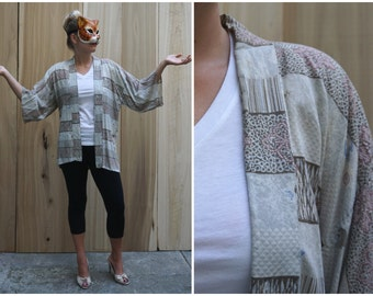 Vintage Hand Stitched Short Kimono Style Open Robe Jacket with Attached Sleeves   OS