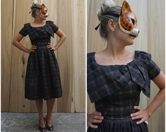 Deadstock Vintage 50's Brown and Black Plaid Day Dress with Oversized Bow Collar by Suzy Perette | Small