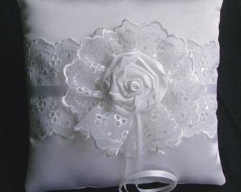 White Satin Rose Ring Bearer Pillow