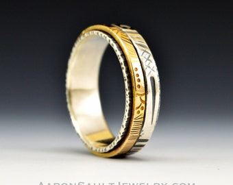 Balance Series - Stasis.  Sterling Silver Band with 14K Gold