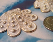 Gold Plated Frosted White Patina Brass Shell Pendant 690WHT x1