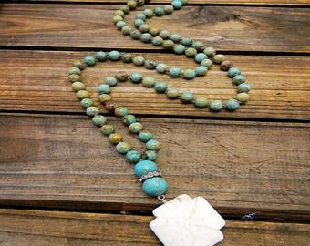 Syracuse, Western Cowgirl Southwestern Boho Necklace- Turquoise Necklace- Long Necklace- Lariat Necklace- Bohemian Jewelry- Boho Necklace