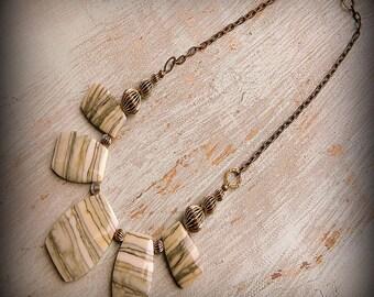 Alfalfa Fields, Western Cowgirl Southwestern Boho CarvedRibbon Jasper Semi Precious Stone Necklace