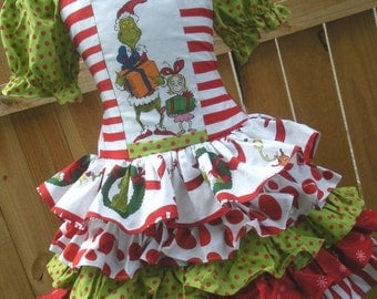ON SALE Ready to Ship Custom Boutique Grinch 5 Ruffle Dress  Size 5 or 6