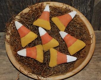 SET OF SEVEN Primitive Mini Candy Corn Tucks Halloween Bowl Filleers Fall Ornies