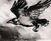 Mini ink painting on canvas 3,5x2,5in art card - Raven portrait - flying