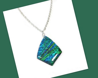 Emerald Green Necklace- Modern Statement Necklace- polymer clay Jewelry- Silver Necklace- Faux Dichroic Necklace