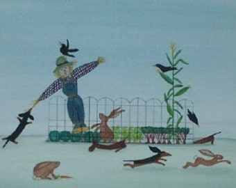 Dachshunds (doxies) try to chase rabbits out of garden / Lynch signed folk art print