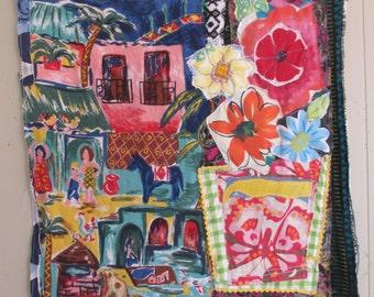 SUN & FLOWERS - Folk Art Quilt - Fabric Collage - myBonny Random Vintage Scraps Assemblage - Applique Embroidery Patchwork Crazy Quilt -