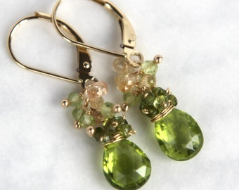 Peridot Earrings with Sapphires in 14K Solid Gold