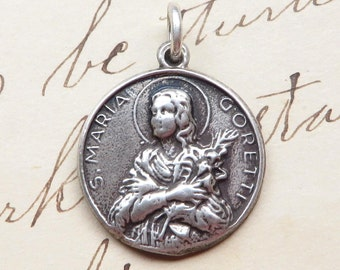 St Maria Goretti / Sacred Heart of Jesus Medal - Patron of girls, rape victimes