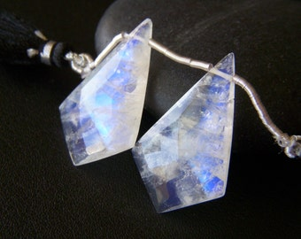 RESERVED - X-Large Rainbow Moonstone Faceted Kites - Pair - 18.5x31mm