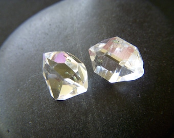 RESERVED - Raw Herkimer Diamond Crystals - Pair - 13mm - 10.4 tcw