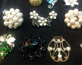 Lot of Vintage Jewelry Pieces, Findings, Broken or Single Earrings