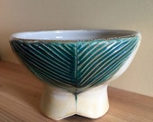 Green Oval Footed Bowl