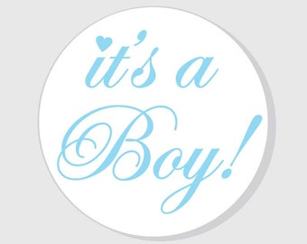 It's a Boy Baby Shower Stickers - Blue - 1.5 inch - 2 inch - 2.5 inch - 3 inch - favors - gift bags - envelope seals - announcement