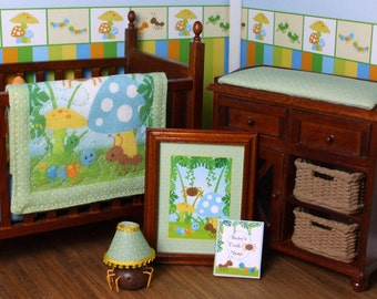 Dollhouse Miniature Nursery Crib and Changing Table, Bug Buddies Collection