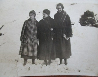 Vintage Three Girls In the Snow Photograph