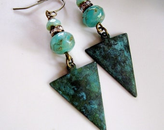 Patina Retro Triangle Earrings, Art Deco, Teal Czech Bead Earrings, Verdigris Patina, Bohemian, Vintage style, Gardendiva