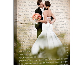 Cotton anniversary gift Personalized Couple Gift Photo with Words First Dance Lyrics Behind Photo Wedding Canvas Decor Words vows Geezees