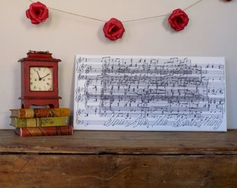 Large Personalized Sheet music canvas art, music notes wall art, Great wedding or Anniversary Gift, Personalized Couple Gift for Him or her