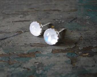Tiny Rainbow Moonstone Stud Earrings - Genuine Rainbow Moonstone and Sterling Silver Post Earrings, Bezel Set Moonstone Earrings, 6mm studs