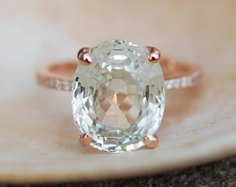 Julianne Hough ring GIA Sapphire Engagement Ring 18k Rose Gold 8.54ct Unheated Jasmine Oval Sapphire Ring