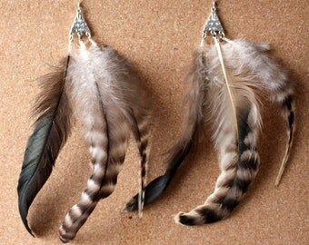 FEATHER Earrings -- Bird, Native American, Southwest - Style 45 - Triple Feather