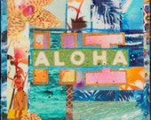 NEW, Aloha HI, Tropical Punch, 8x10, 11x14, 16x20, Hawaii, Hand-Signed matted print, hula, wall art, Ocean Art, Blue, Turquoise, Palms,