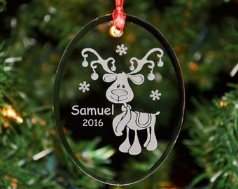 Personalized Engraved Keepsake Glass Christmas Ornament, Custom Boy Reindeer Ornament, Holiday Ornament by Hummingbird Hill - ORN15