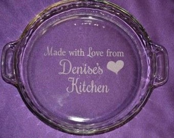 Custom Engraved Bakeware, Personalized Made With Love From Grandma's Kitchen Pie Plate, Mom, Nana's, Pie Baker's Gift - #6