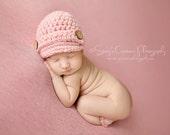 Crochet Childrens Hat, Newsboy Hat for Kids, Girl Hat, Girl Beanie, Girl Newsboy Hat, Pink Childrens Hat, Toddler Hat, Little Girls Hat