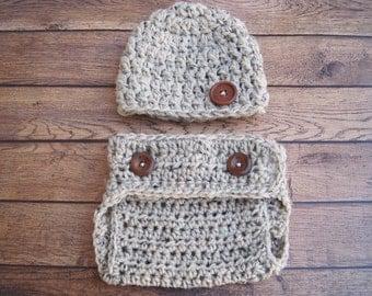 Newborn Hat, Baby Diaper Cover Set, Baby Beanie, Newborn Beanie, Newborn Prop, Newborn Clothing, Crochet Baby Beanie, Baby Hat, Oatmeal