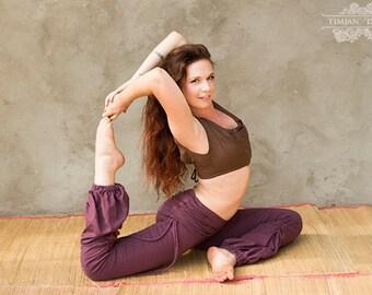 ADINATA YOGA PANTS - Organic Athletic Hippie Boho Sports Trousers Fairy Pixie Faery Plus size - Plum Purple