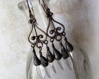 Solid bronze and Soldered Czech Glass Dagger Dangle Earrings