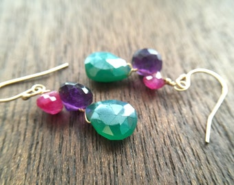 Bold Statement Purple Pink Green Gemstone Gold Earrings, Gift for women, mom, sister, aunt, wife, daughter