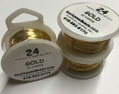 24 gauge Gold Plated Non Tarnish Copper Craft Wire 30 ft Made in USA
