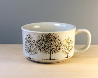 Trees. Stoneware soup mug, 1980s design.