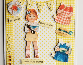 Paper Doll Handmade Card - Little Miss Muffet