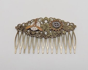 Steampunk hair comb. Steampunk jewelry.