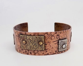 Steampunk copper cuff . Mixed metal cuff .