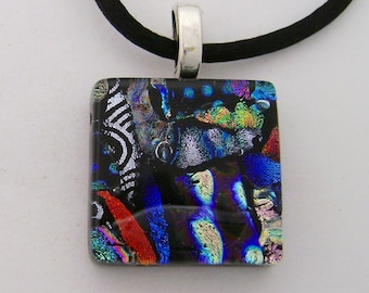Dichroic glass jewelry necklace pendant.