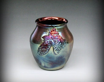 Raku, Raku Pottery, Metallic and Iridescent, Pinecones, Pine Needles