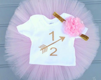 Pink and Gold Half Birthday Tutu Set, Half Birthday Outfit, Pink Tutu, Gold Glitter Arrow Birthday Shirt, Baby Girl Outfit, Flower Headband